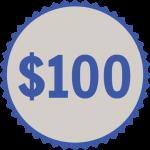100 button donation