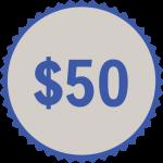 50 button donation